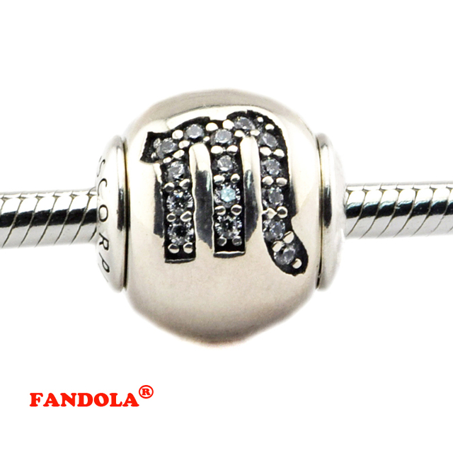 a7409b4d6 Fits Pandora Essence Bracelet DIY Beads Scorpio Essence Charms with Clear  Cubic Zirconia Real 925 Sterling Silver Jewelry FE049