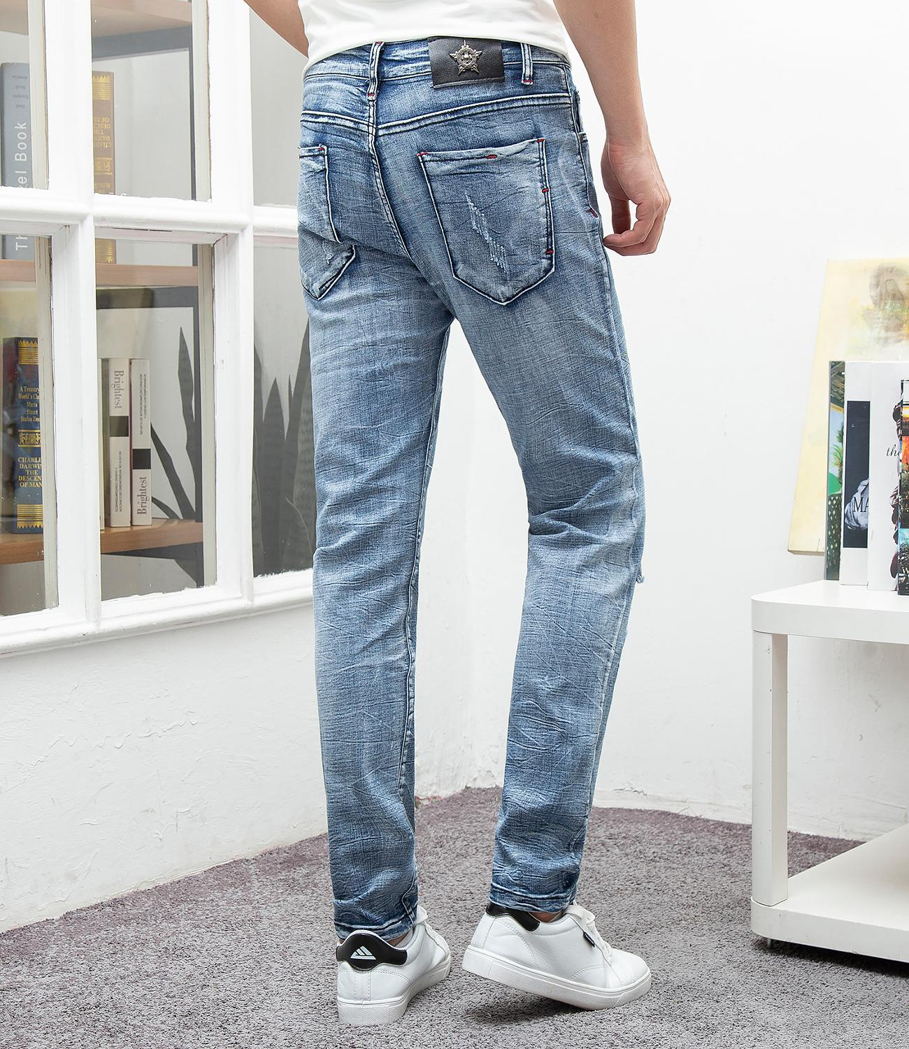 Hip hop jeans men skinng slim fit football embroidery brand pants vogue homme denim trousers plus size 29 38 male blue jeans in Jeans from Men 39 s Clothing