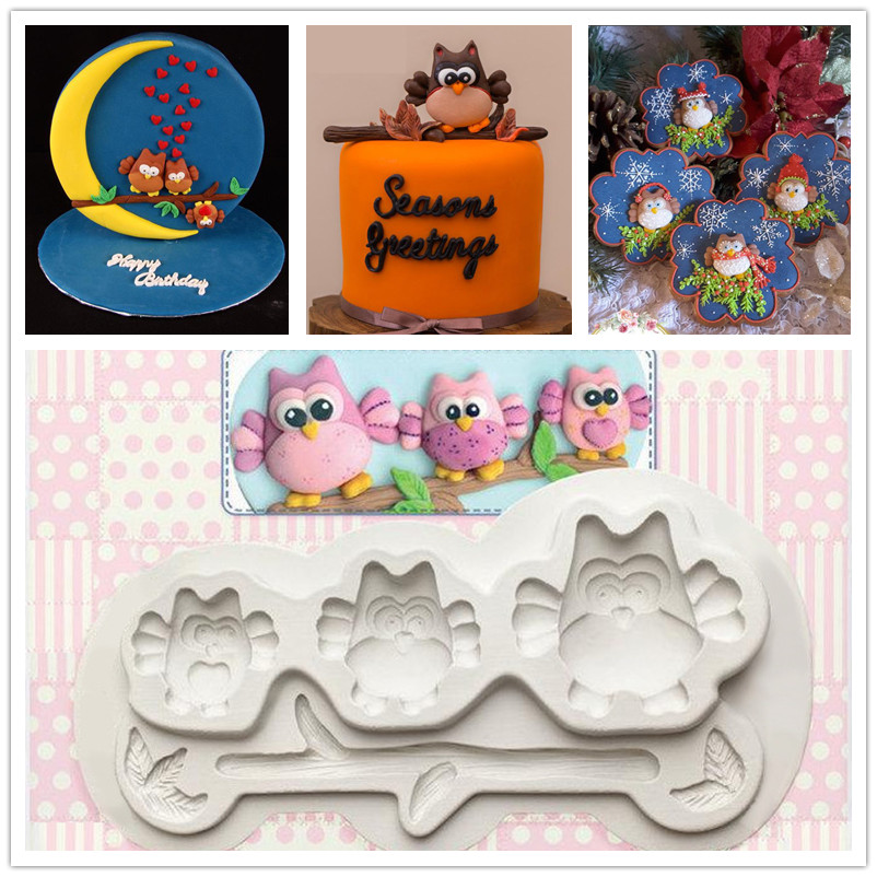 190x95x15mm Chocolate Clay Cake Mould Owl Mold Series Mold Cake Decoration Mold Fondant Cake 3d Mold Food Grade Baking Tool Available In Various Designs And Specifications For Your Selection Bakeware