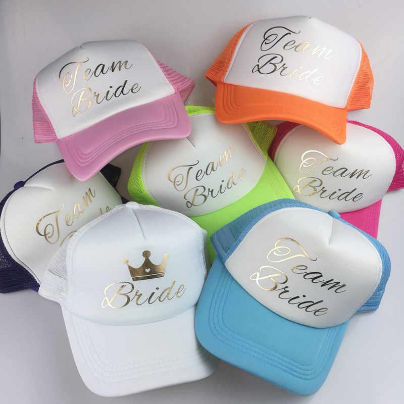 ... C Fung BRIDE TEAM BRIDE GROOM trucker hats Caps golden printing Hats  Bachelor Club Team Snapback Caps ... 6f4757cd16f6