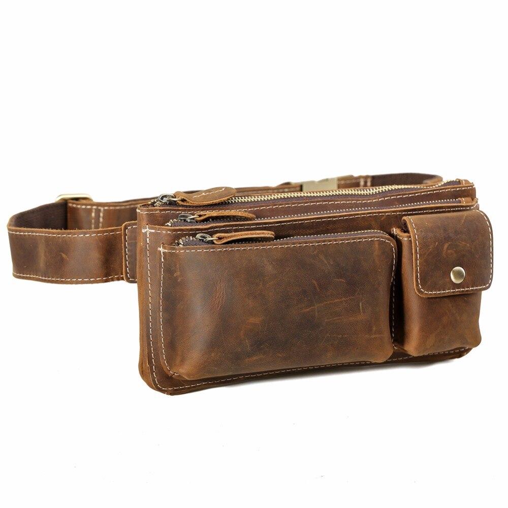 Tiding Men Waist Bag Cowhide Leather Fanny Pack Small Waist bag Bum Bag for Cell Phone 3162 waist bag