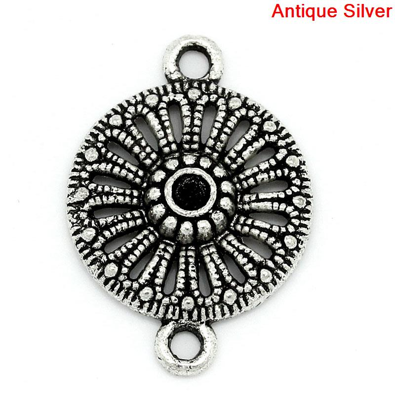 DoreenBeads Connectors Findings Round Antique Silver Flower HollowInlaid faceteds(Hold ss10 Rhinestone)21mmx15mm,7 PCs 2015 new 8seasons 10 antique bronze filigree flower embellishments findings 5 5x4 8cm can hold ss10 rhinestone b18567