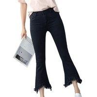 2017 Summer Spring Sexy Slim Jeans High Waist Stretch Skinny Tassel Jean Black Fashion Bell Bottom