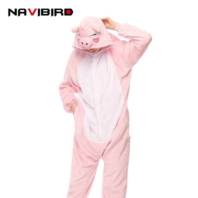 280811a7a7c7 Winter Animal Pink Pig Onesie Adult Teenagers Women Pijama Kigurumi Pajamas  Flannel Warm Soft Pink Onepiece Sleep Sloth Jumpsuit