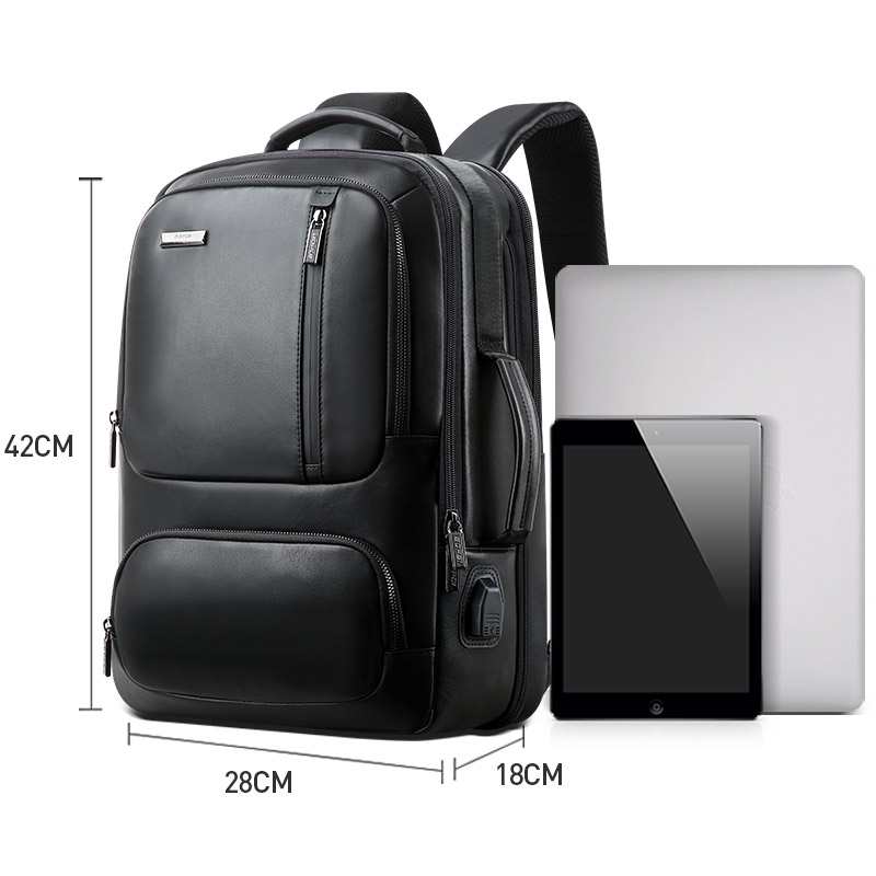 Image 5 - BOPAI Top Genuine Leather Backpack Men 15.6 Inch Laptop Backpack Real Leather USB Charging Port Male Business Backpack Travel-in Backpacks from Luggage & Bags