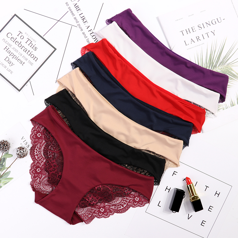 Women's Sexy Lace Panties Seamless Cotton Breathable Panty Briefs Plus Size Sexy Lingerie Fashion Low Waist Underwear Intimates
