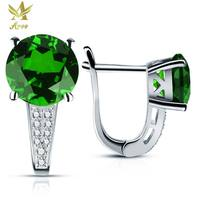 ANGG Products 2.4ct Classic 925 Sterling Silver Clip Earrings Green Nano Russia Created Emerald Earring Wedding Round Earring