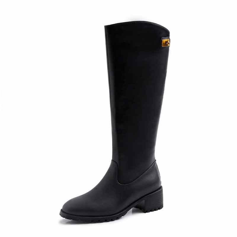 Krazing maceta nuevo streetwear zapatos de tacón de cuero genuino de invierno punta redonda Cierre de metal mantener caliente montar botas altas de muslo l33 - 3