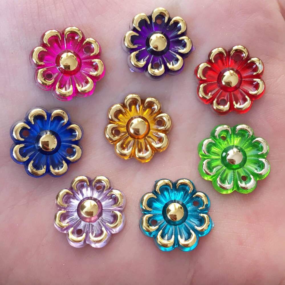100PCS 16mm AB Acryls Flower Rhinestone Flatback Wedding Diy Button 2 Hole Crafts K29*5