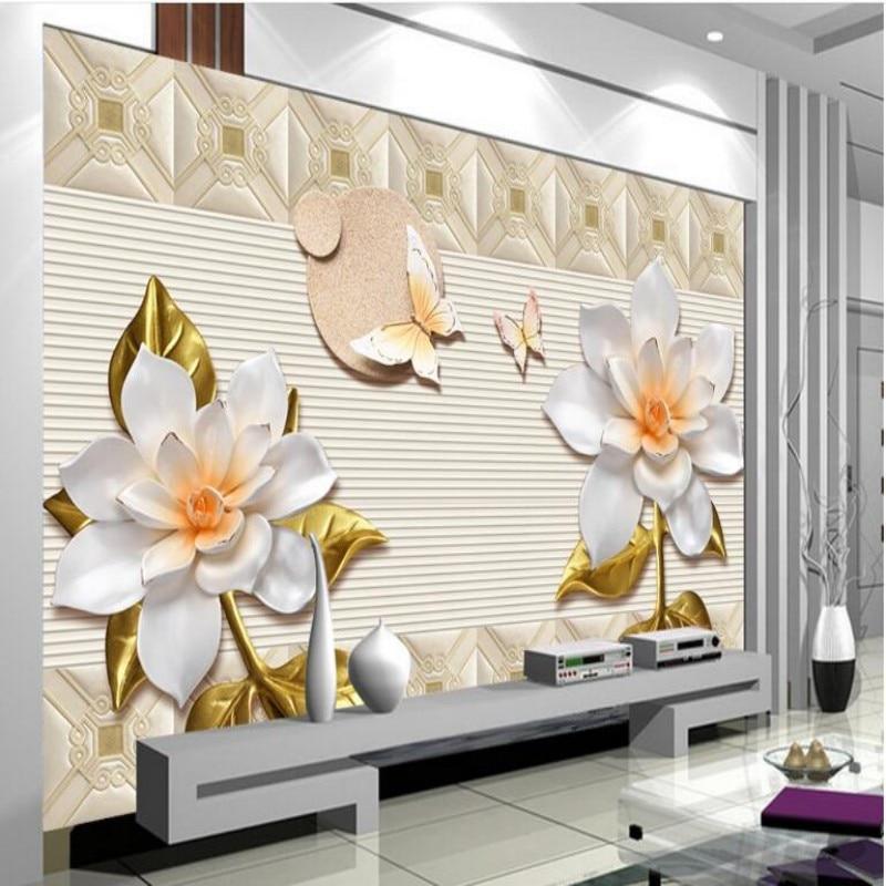 3d wallpaper embossed flowers butterfly love mural theme for Butterfly mural wallpaper
