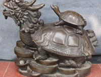 23 China Pure Bronze Wealth Money Yuanbao Dragon Tortoise Turtle Animal Statue
