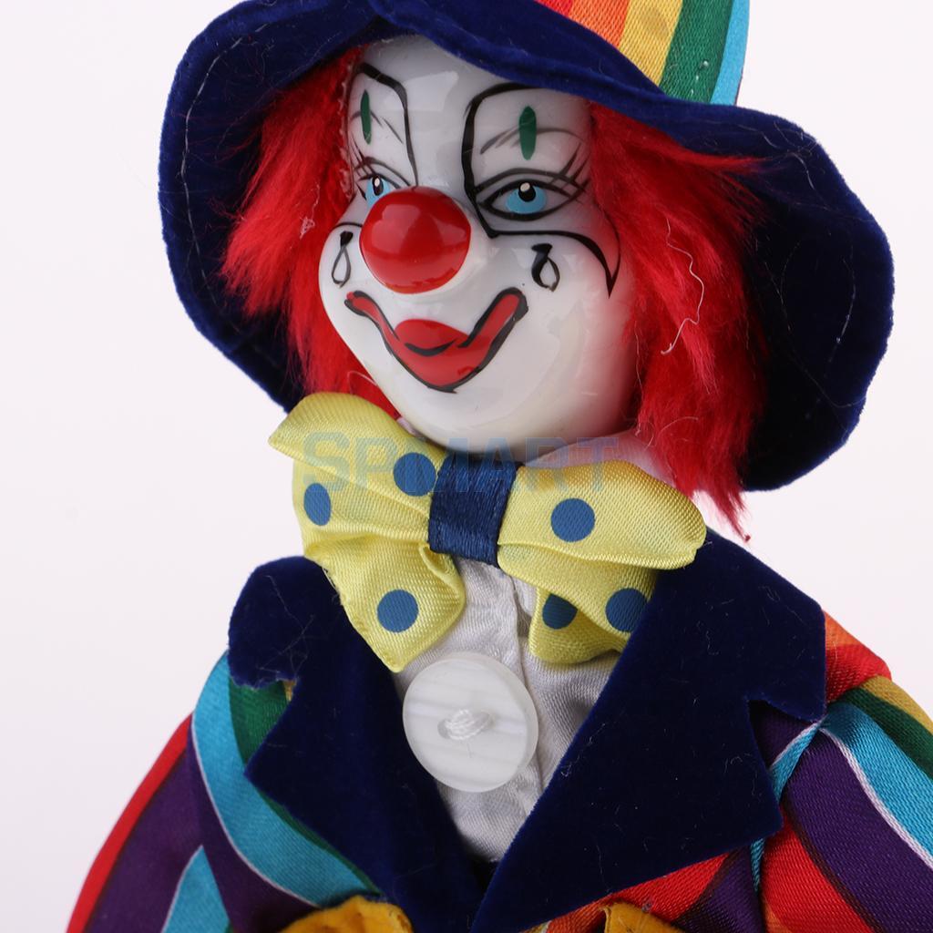 3pcs 18cm Cute Clown Porcelain Doll Halloween Ornament Home Table Desk Decor