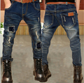 2016 winter children's clothes boys jeans denim blue thicken fleece boy jeans for boys big kids long trousers causal jeans