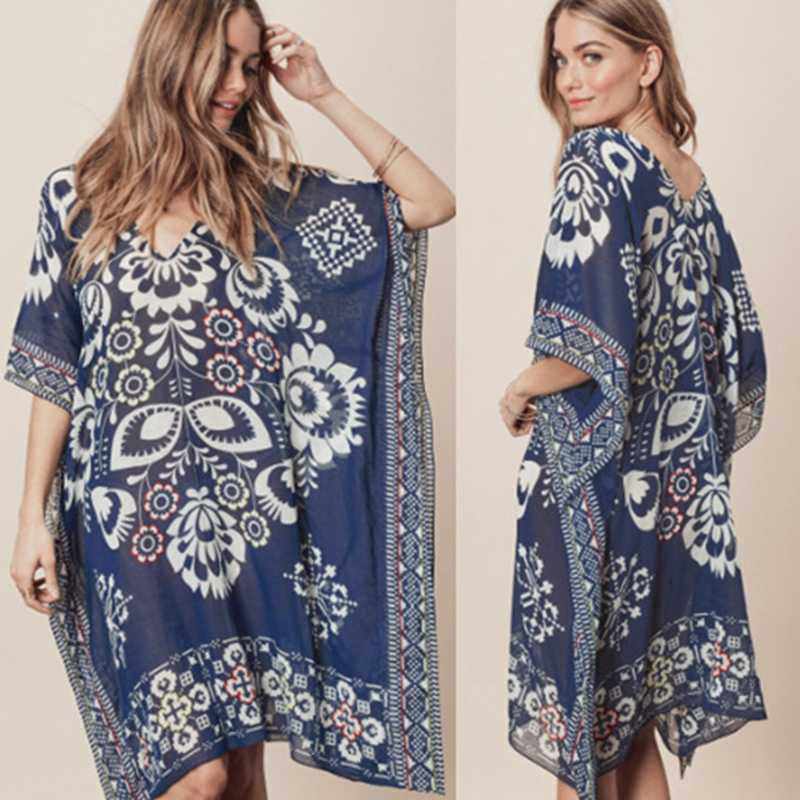 2019 Kain Sutera Tipis Pantai Wanita Cetak Baju Renang Menutupi Pakaian Renang Baju Renang Cover UPS Musim Panas Mini Gaun Longgar Daoble Pantai tunik