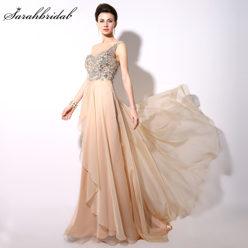 Vestido De Festa Illusion Back Champagne Evening Dresses Real Photo Hot Sale One Shoulder Crystal Sequin Prom Gown YD004