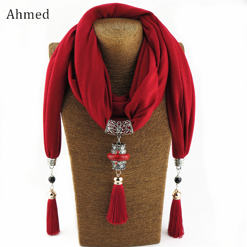 Ahmed Bohemian National Wind Scarf Necklaces Buddha Beads