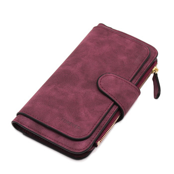 Suede Leather Zipper Long Wallet