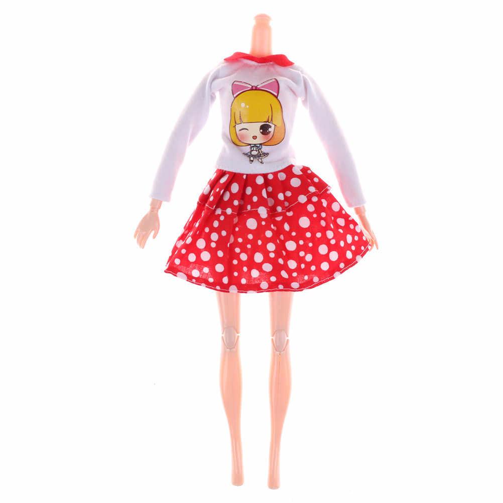 2 unids/set de ropa de muñecas falda de puntos blancos falda hermosa hecha a mano vestido de fiesta de moda para muñeca mejor juguete de regalo de chica chico
