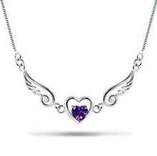 100% 925 sterling silver necklace angel lover necklace sterling silver jewellery necklaces & pendants FREE SHIPPING