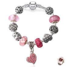 Valentine's Gift Unique Silver Plated Jewelry Heart charm Bracelet Bangle European Crystal Charms Beads Bracelet For Women