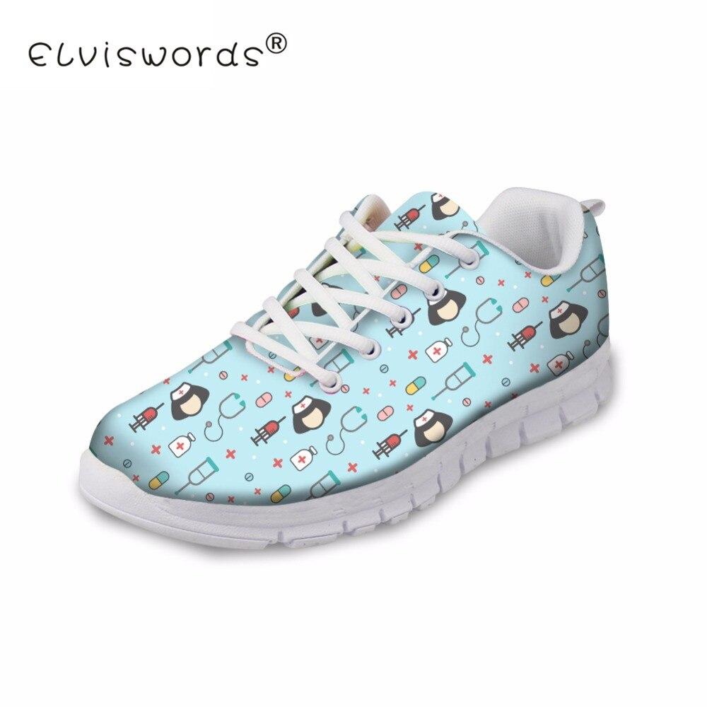 81ba358c6c8d ELVISWORD Women Flats Summer Nurse Mesh Shoes Woman 3D Cute Blue Breathable  Lace-up Comfortable