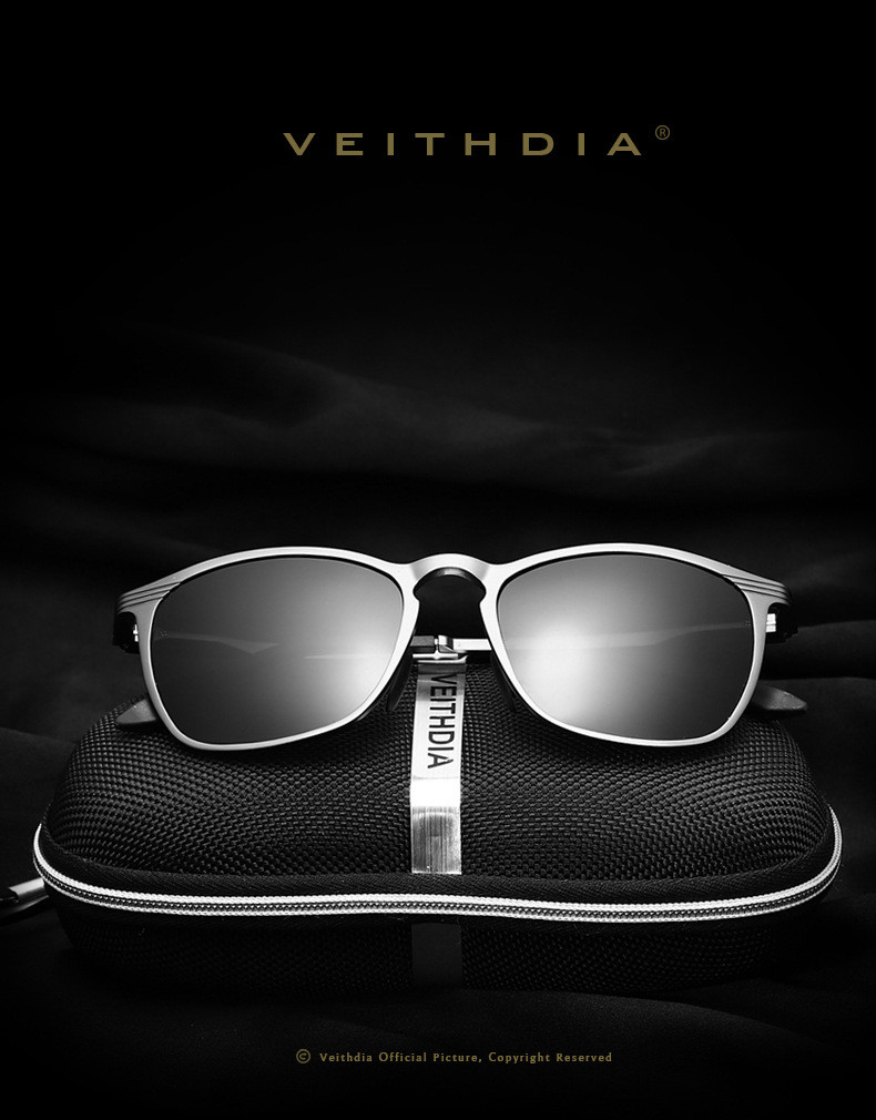 VEITHDIA Unisex Retro Aluminium Marke Sonnenbrille Polarisierte Objektiv