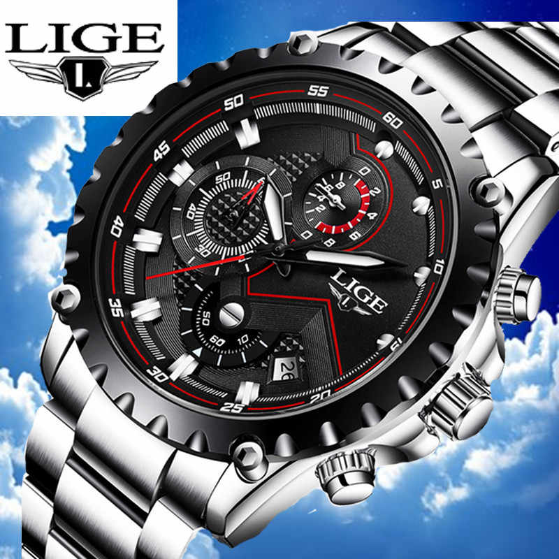 LIGE Top Luxury Waterproof Chronograph Quartz Stainless Steel Strap Sport Style Mens Watches Automatic Date relogio masculino