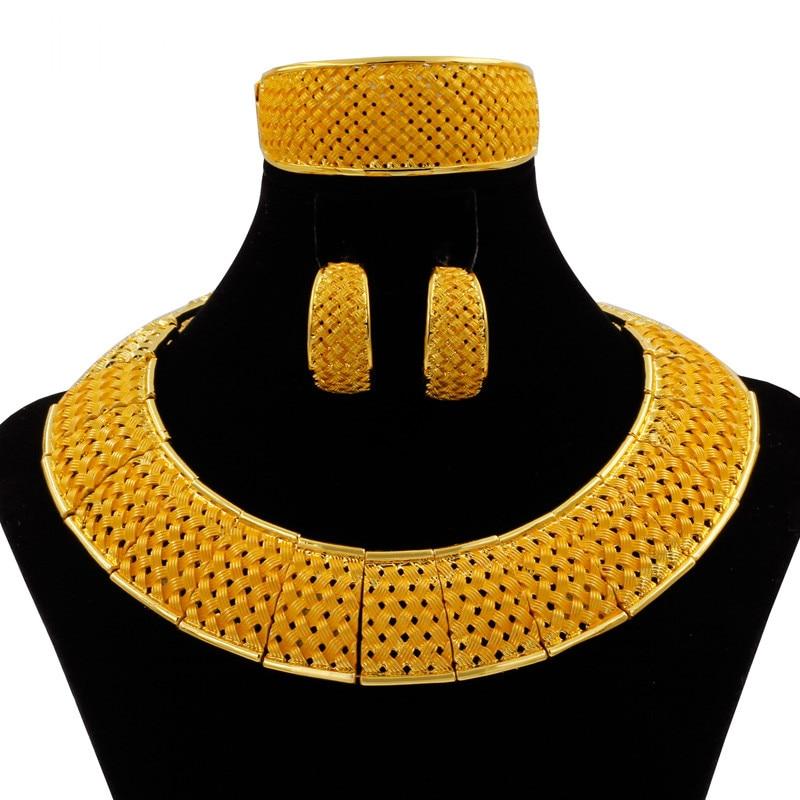 Mode 24 ensembles de bijoux en or collier anneau bracelet charmes femmes boucles d'oreilles de fête de mariage accessoires cadeaux ensembles