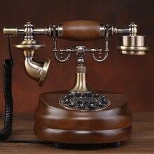 Мода старинного дерева телефон старинные бытовой стационарный телефон/Идентификатор вызывающего абонента Hands-Free с подсветкой