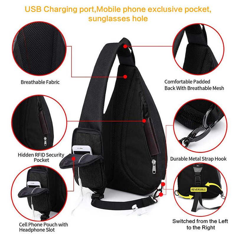 """Pria Wanita Tas Bahu USB Charge Tas Selempang Pria Anti Pencurian Dada Tas Kapasitas Besar 10.5 """"Ipad Ponsel perjalanan Singkat Tas"""