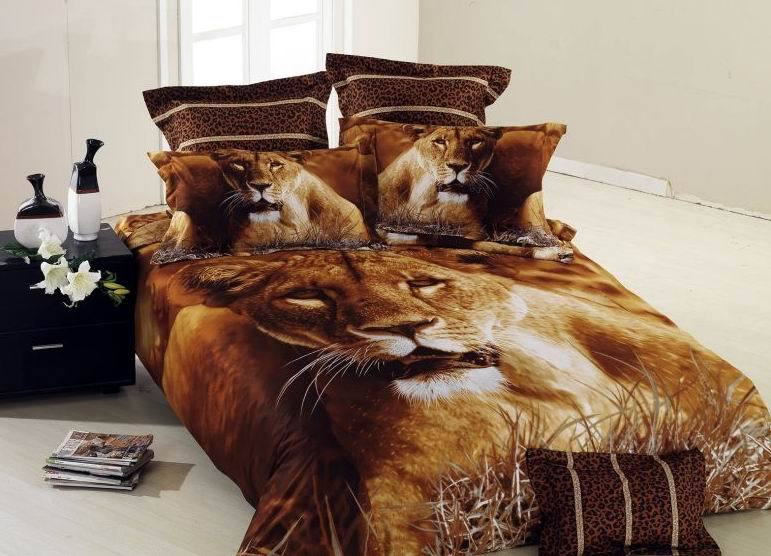 Brown Lion Animal Print Bedding Set Queen Size Bedspread