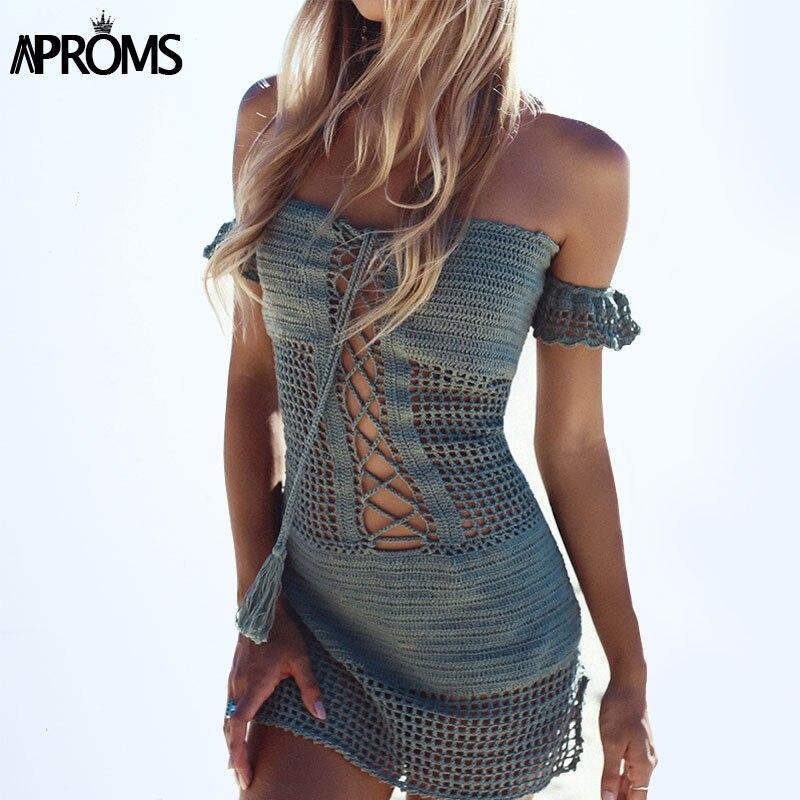 אפרומס סקסי עבודת יד הסרוגה שמלה קיץ בוהו ביקיני ביץ '90 של בנות תחרה עד כתף Bodycon שמלה קיץ