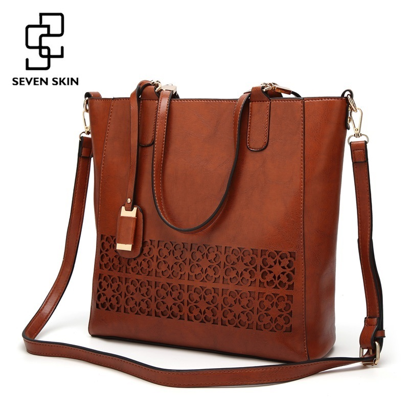 SEVEN SKIN Brand Women's Shoulder Bag Female Leather Handbag Women Bags Designer High Quality Hollow Out Large Capacity Tote Bag seven skin brand new designer women casual tote bag female vintage messenger bags high quality pu leather handbag bolsa feminina