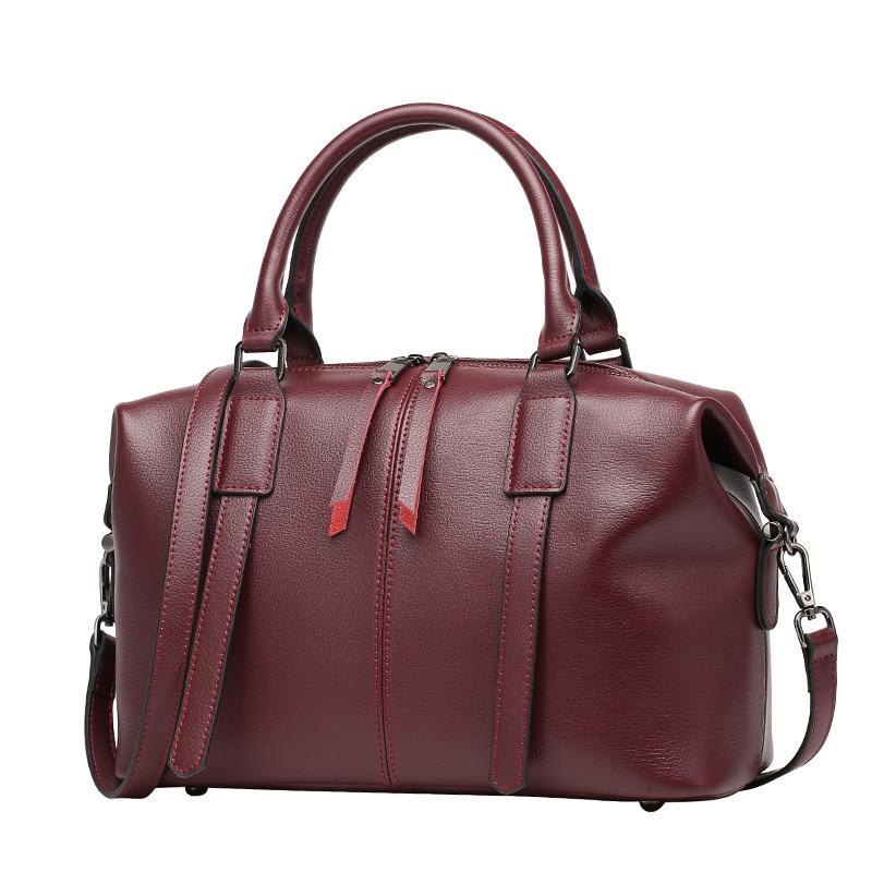 Märke Natural Äkta Läder Handväskor för Kvinnor Designer Boston - Handväskor