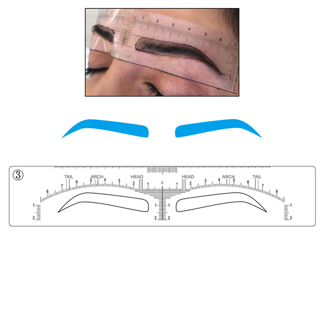 48 pieces Microblading Eyebrow Stencils Stick on Sticker Permanent Makeup Supplies Disposable Eyebrow Mold Drawing Guide 3