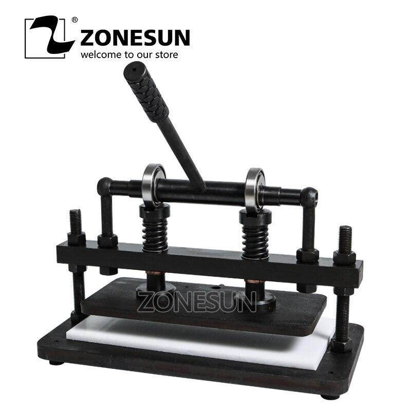 ZONESUN 3616 cm Double roue main en cuir machine de découpe pour sac photo papier PVC/EVA feuille moule cutter en cuir outil de découpe