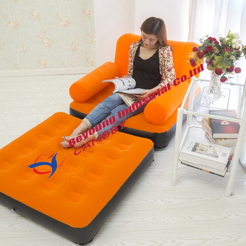 Living Room Air Furniture Bestway Flocked Inflatable Single Air Sofa Couch Inflatable Lounge Bed
