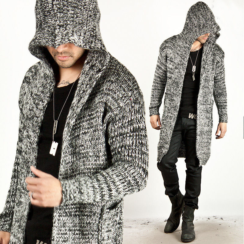 Trendy Fashion Mens Warm Sweaters Cardigan Hooded Knitted Long Jacket Autumn Winter Coat Slim Fit Casual Thickening Tops  cardigan