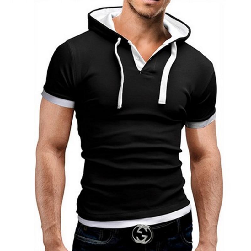 Men S T Shirt 2017 Summer Hooded Sling Short Sleeved Tees Male T Shirt Slim Tops