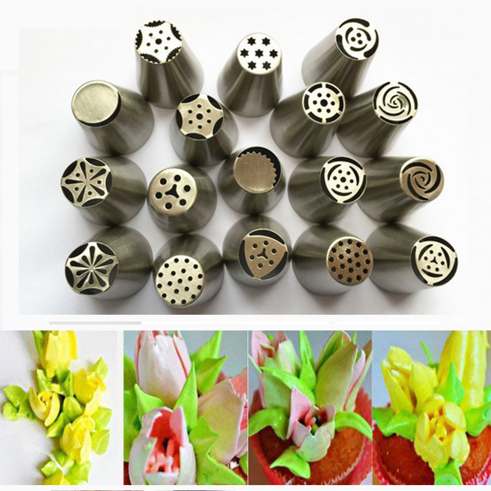 Cake Decorating Icing Nz : ???? - 17Pcs Russian Tulip stainless steel Nozzles ...