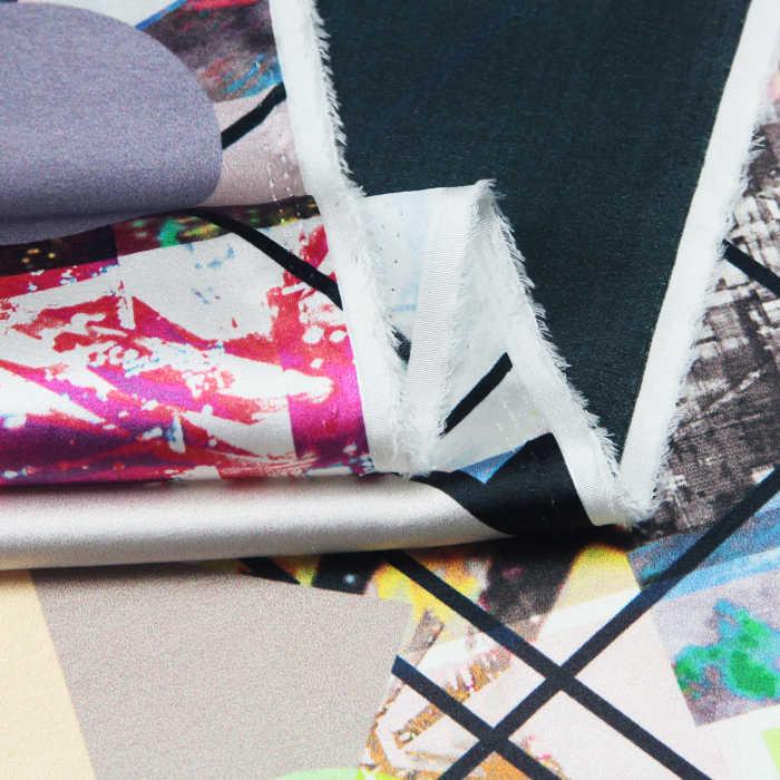 Jenny libra dupla de seda de impressão digital tecido de seda pano de seda Cetim Stretch [Mousika] elegante carregamento