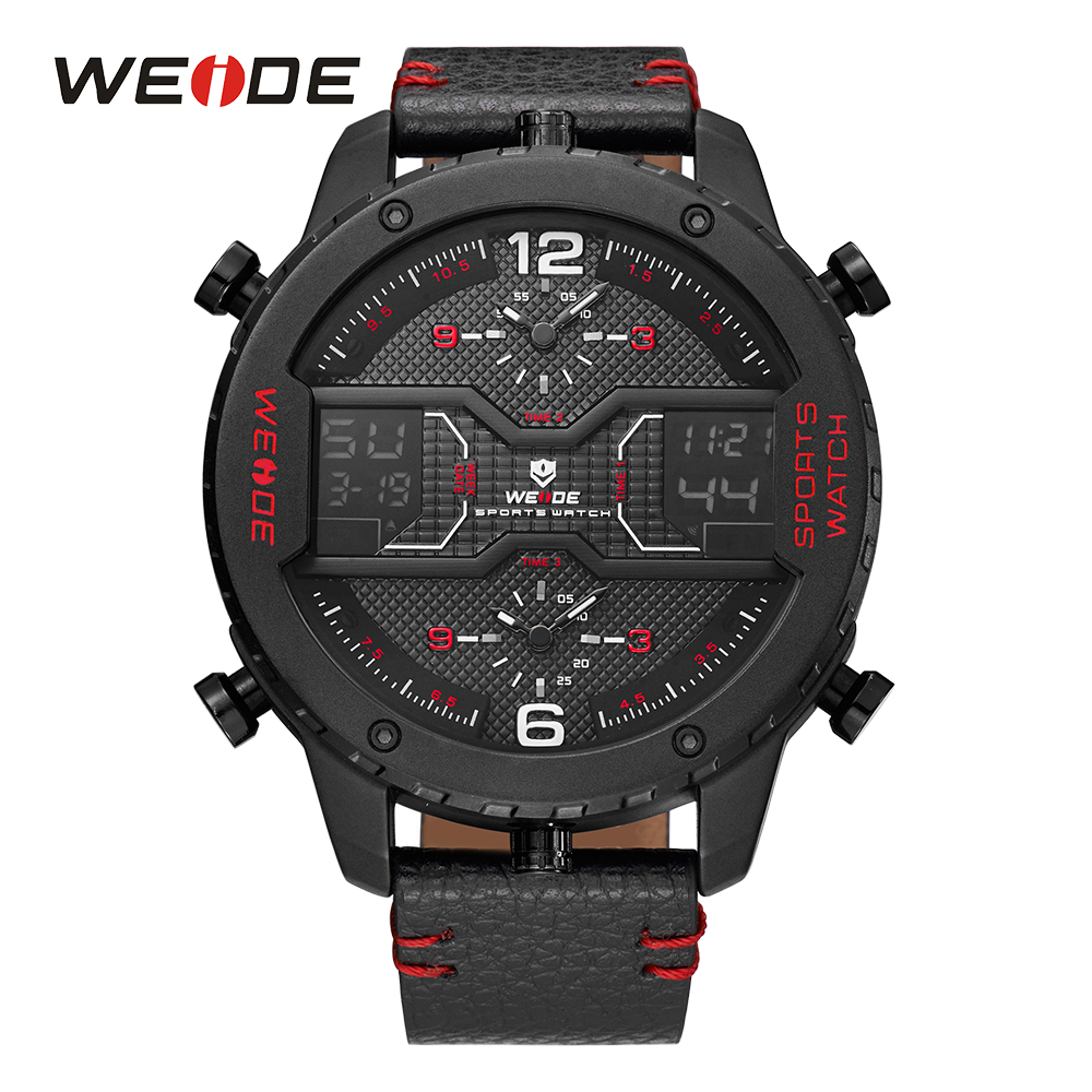 все цены на WEIDE Sports Watch MilitaryThree Time Zone Analog Sport Digital Calendar Date Quartz Leather Strap Mens Male Wristwatches Clock