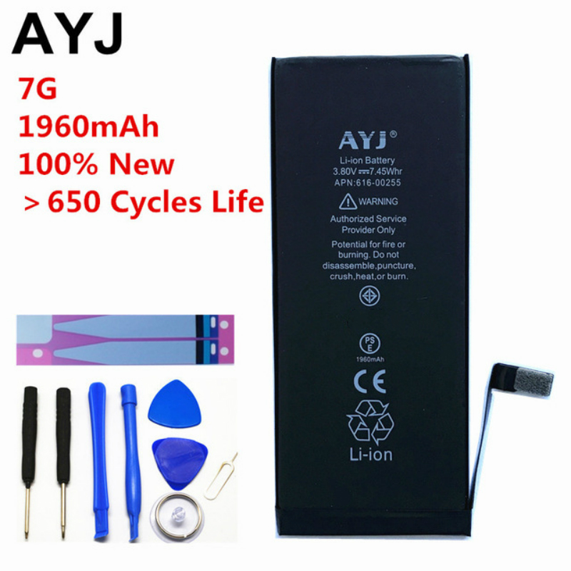 AYJ 100% New AAAAA Quality for iPhone 7 Battery Replacement Zero Cycle Free Repair Tools Battery Tape