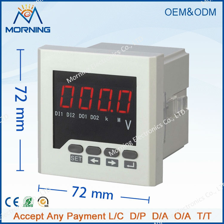me dv61 t frame size 7272mm led digital display 1 phase dc voltmeter for network power monitor with rs 485 communication