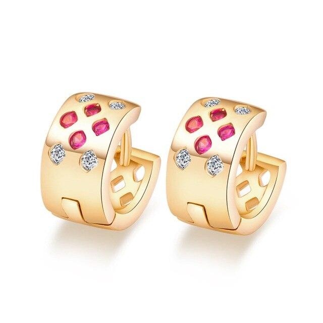 Marca de Moda caliente de Oro Plateado Ronda Huggie Pendientes Para Las Mujeres de Color Rosa Pendientes de Aro Zirconia Joyería de Moda OL de la Señora