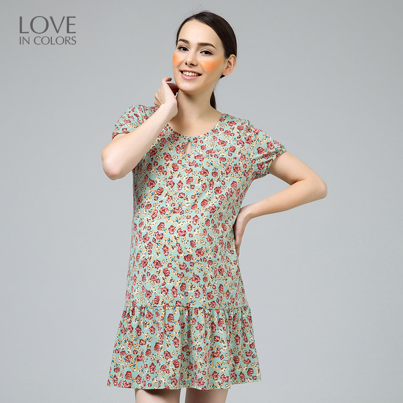 New Fashion Pregnant Women Dress Trumpet Floral Boat Neck Cute Sexy Knee-Length Comfortable Maternity Women Clothes