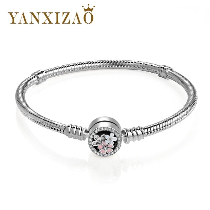 Yanxizao 925 Silver Snake Chain Bracelets Female Fit Original Bangles Flower CZ Jewelry DIY Jewelry Woman Armbanden