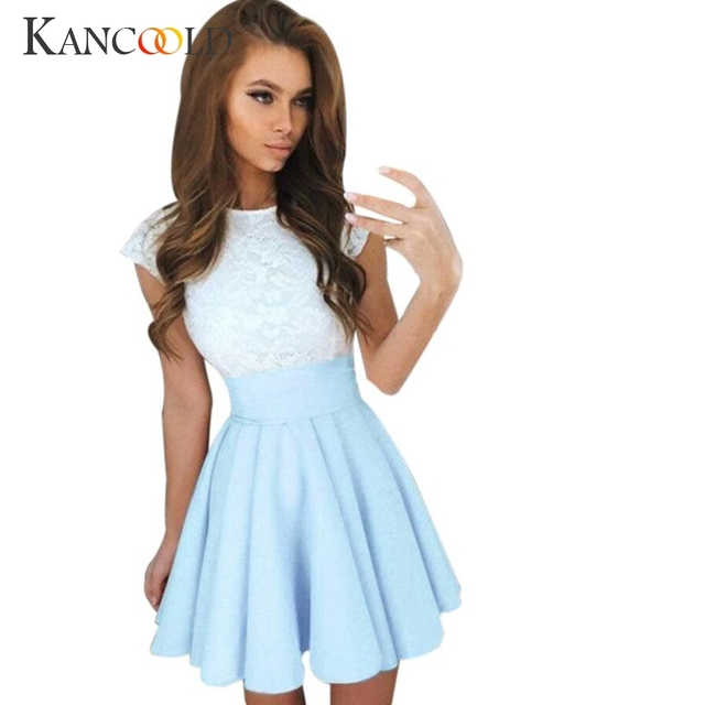 9782a3b38e 2017 Fashion Womens Lace Party Cocktail Mini Dress Ladies Summer Short  Sleeve Skater Dresses Hot Sale July0728