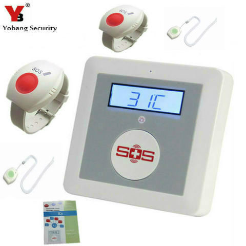 YobangSecurity Wireless GSM SMS Senior Telecare Home Security Alarm System SOS Call With Neck Wrist Emergency Panic Button 2 receivers 60 buzzers wireless restaurant buzzer caller table call calling button waiter pager system