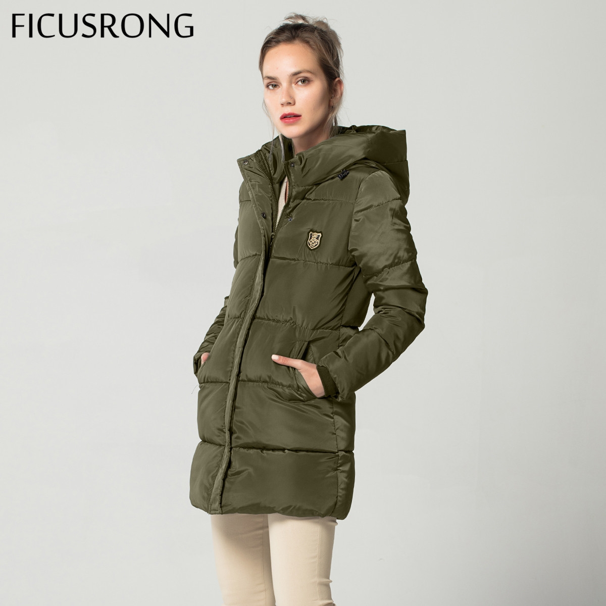 New Long   Basic     Jacket   Female Women Winter Hooded Coat Thick Cotton   Jacket   Womens Outerwear Tops casaco feminino FICUSRONG 2018